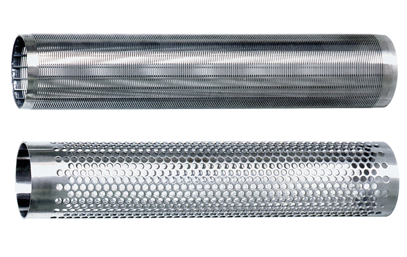 Top Image: Wedgewire Strainer Element Bottom Image: Perforated Strainer Element
